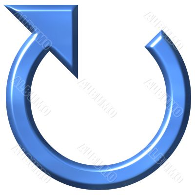 3D Azure Circular Arrow