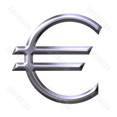 3D Silver Euro Currency Symbol