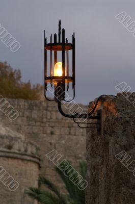 a lamp in a night street