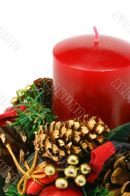 Christmas candle on white background (clipping path included)