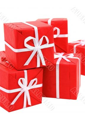 Red gift boxes on white background (clipping path included)