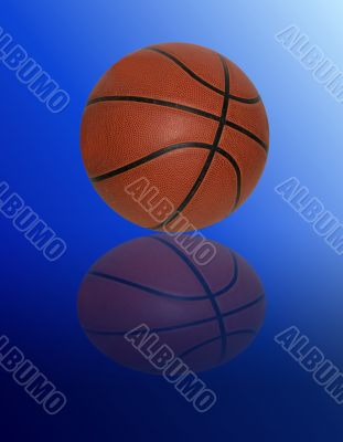 Basketball on gradient blue background