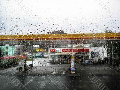 A Window  in rain