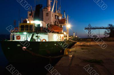 Ship at harbor at dusk