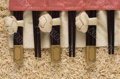 Brown rice and chopsticks