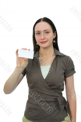 woman keeps card on white background