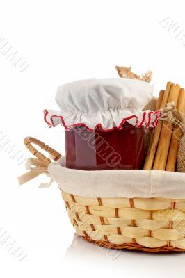 Jam jar, cinnamon and burlap sac