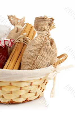 Burlap sac, jam jar, cinnamon and