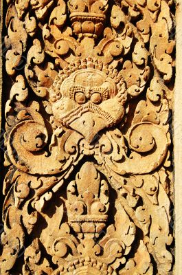 Stone carving at Banteay Sreiz, Cambodia