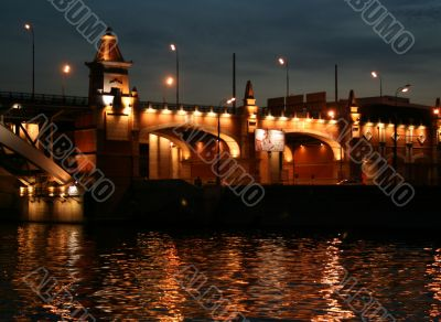 Night appearance from Moscow river. Bridge.