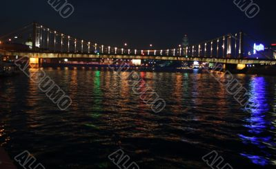 Night appearance from Moscow river. Krimsky bridge.