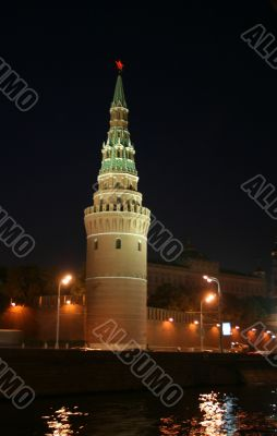 Night appearance from Moscow river. Kremlin.
