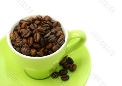 Coffee beans cup isolated on white (clipping path included)
