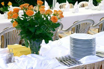 Flowers and tableware