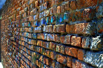Rugged red brick wall