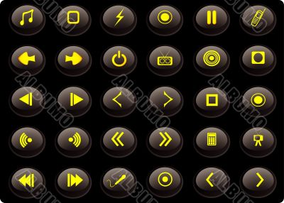 Black and yellow media web buttons