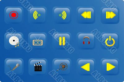 blue color media buttons