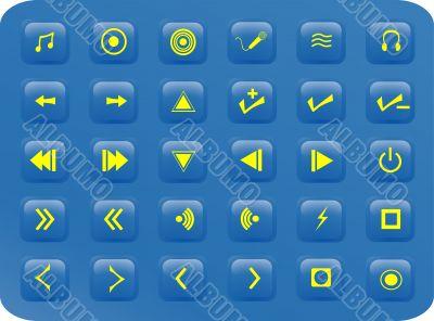 Blue media aquare buttons