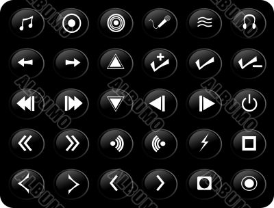 Black and white media buttons