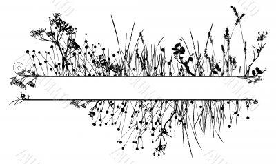 Grass silhouette frame / vector