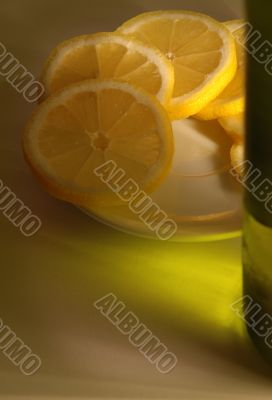 Lemon slices and alcohol