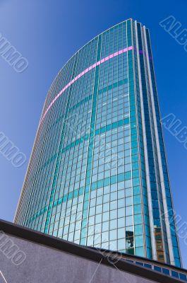 Glass skyscraper in downtown financial district