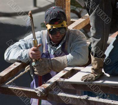 Welding construction workers