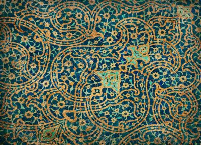 rusty tiled background, oriental ornaments from Isfahan Mosque,