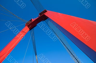 abstract view on massive red bridge