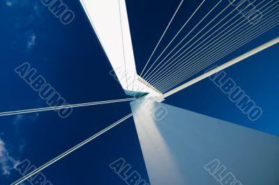 abstract view on big white suspensionbridge