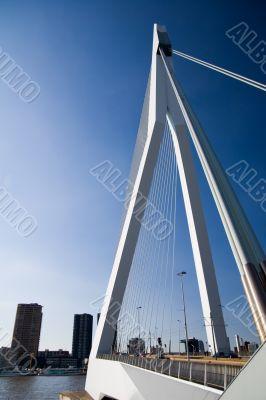 Big white suspension bridge in Rotterdam, Holland