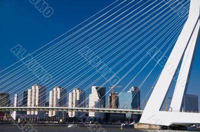 skyline of rotterdam behind bridge