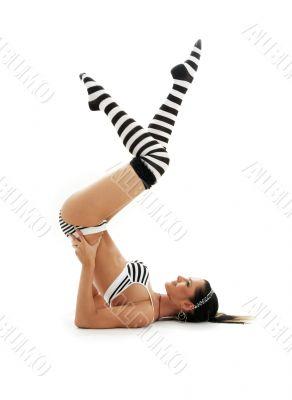 striped underwear supported shoulderstand #2