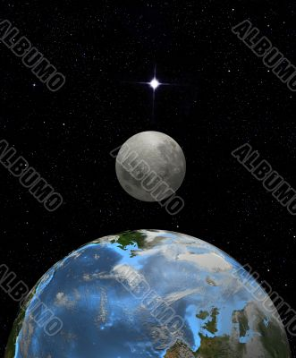 Moon rise in earth space