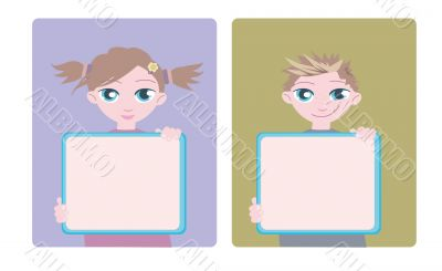 girl and boy with information boards