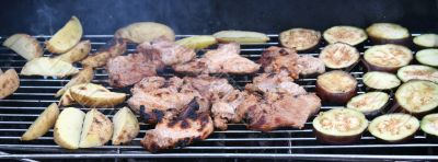 Food items grilled on BBQ grill