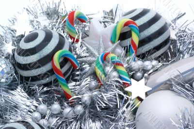 Candy canes and striped balls.
