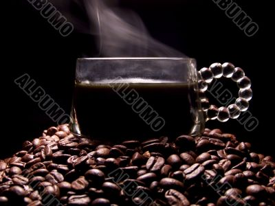 Glass Coffee Cup Full Of Steaming Coffee