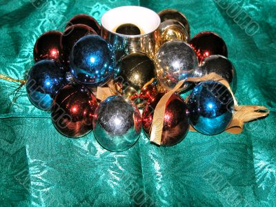 Christmas balls with golden cup