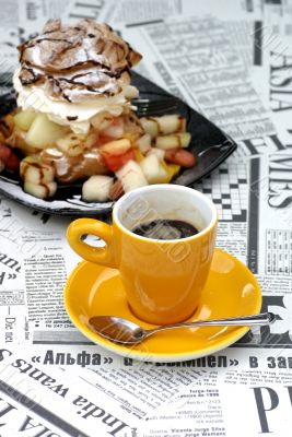 Coffe with cream puff.