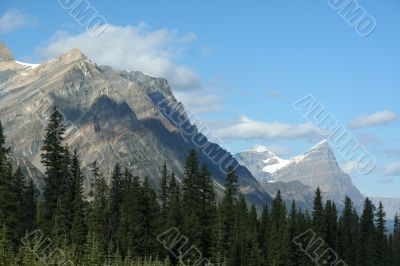 Striated mountain peaks