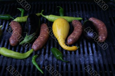 Grill - squash, peppers, sausage & eggplant