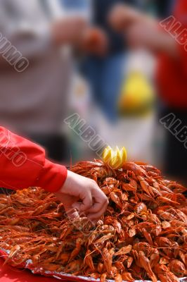 Big tray of boiled crayfishes