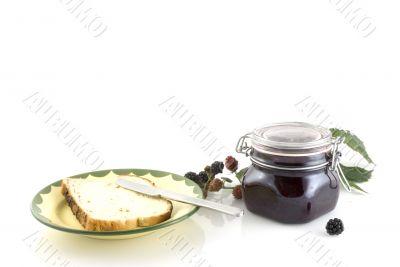 Blackberry jam with bread
