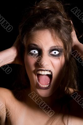 Screaming scary woman