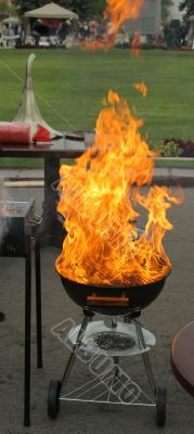Grill and large flame