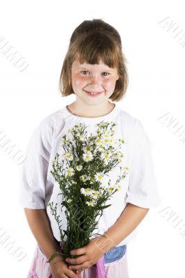 Girl with daisy`s