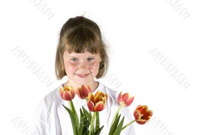 Girl with tulips