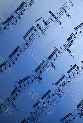 Sheet Music Blue Gradient