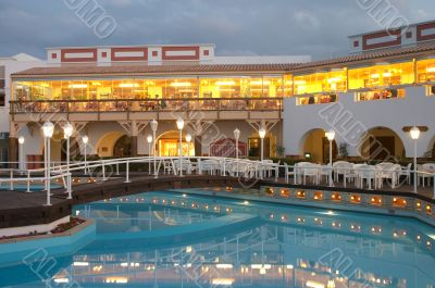 restaurant and swimming pool